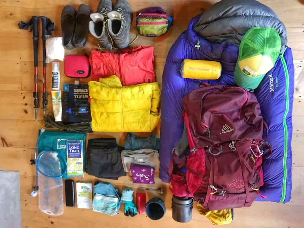 lay out all your gear when packing for the long trail